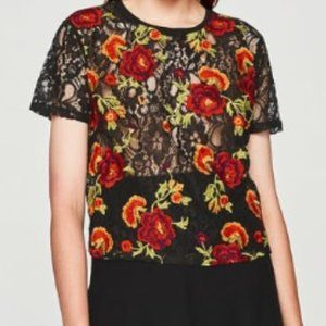 Zara  Black Lace Floral Embroidery T-Shirt